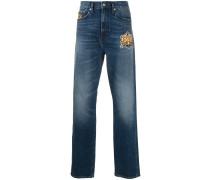 Gerade Jeans mit Stickerei