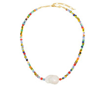 18kt 'Alaia' vergoldete Halskette mit Perlen