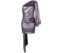 draped lamé asymmetric mini dress