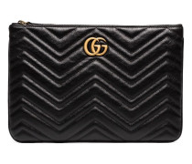 black chevron quilted leather GG clutch