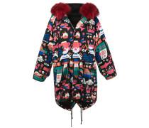 fur hood printed coat