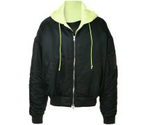 layered oversized bomber jacket