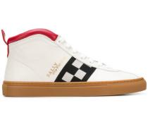 checkered panel hi-top sneakers