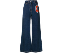Q patch flared jeans