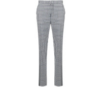 high-waisted checked trousers