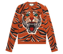 Tiger intarsia wool sweater