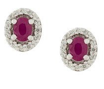18kt gold, diamond and ruby stud earrings