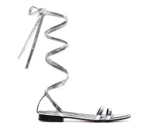 Metallic Silver Rosa Eel Leather Sandals