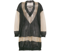 sheer paneled knitted jumper