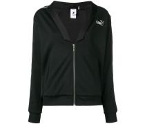 logo zipped bomber jacket