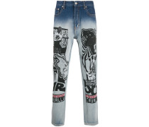 Tapered-Jeans mit Print