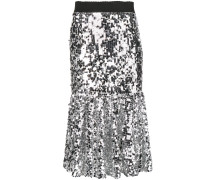 metallic flared midi skirt