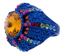 Blue Crystal Pincushion Signet Ring
