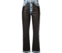 Jeans mit mit Ledereinsätzen