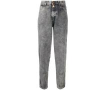Taillenhohe Acid-Wash-Jeans