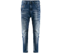Taillenhohe Tapered-Jeans