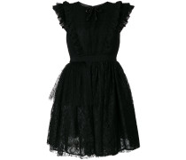 ruffled lace flared dress