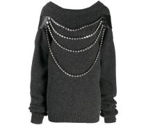 Oversized-Pullover mit Kristallen