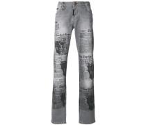 newspaper print jeans