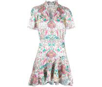 Bedrucktes Kleid mit Rüschen