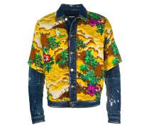 Jeansjacke mit Palmen-Print