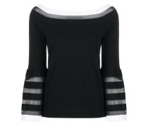 contrast panel striped detail knitted top