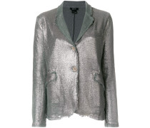 metallic stitched raw edge blazer