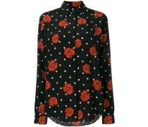 Gepunktetes Seidenhemd mit Rosen