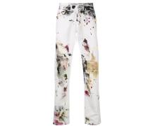 Skinny-Jeans mit Farbklecks-Print