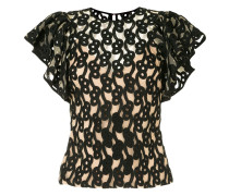 Link embroidered tulle top