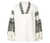 embroidered balloon-sleeve blouse