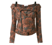 camouflage cold shoulder jacket