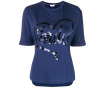 T-Shirt mit Fuchspelzbesatz