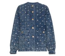 Jeansjacke mit Kristallen