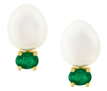 18kt gold, pearl and emerald stud earrings