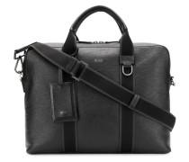 textured leather messenger bag