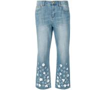 Cropped-Jeans mit Blumen-Applikationen