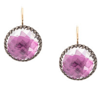 Olivia Magenta Button drop earrings