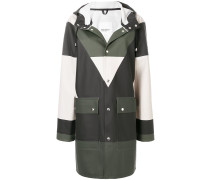 colour block hooded raincoat