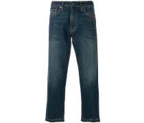 Cropped-Jeans mit unbearbeitetem Saum