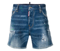 paint splatter effect denim shorts