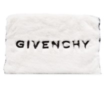 black and white logo embroidered faux fur pouch