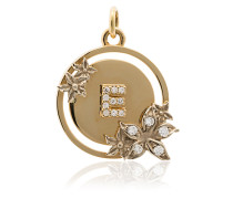 18k yellow gold and diamond flower initial charm