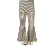 striped asymmetric cuffed trousers