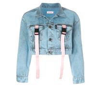 Cropped-Jeansjacke mit Schnallenriemen