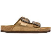 Metallic-Sandalen mit Schnalle