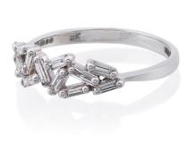 18kt Weißgoldring und Diamanten