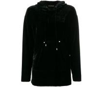 high shine hooded jumper