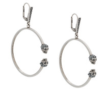twin skull hoop earrings