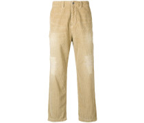 Gerade Cordhose mit Distressed-Optik